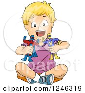 Clipart Of A Blond Caucasian Boy Playing With Super Hero Toys Royalty Free Vector Illustration