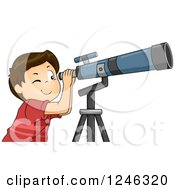Clipart Of A Brunette Boy Looking Through A Telescope Royalty Free Vector Illustration