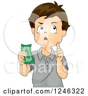 Clipart Of A Boy Thinking And Holding Cash Royalty Free Vector Illustration