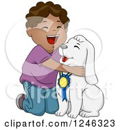 Clipart Of A Happy Black African American Boy Hugging His Award Winning Dog Royalty Free Vector Illustration
