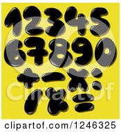 Black Liquid Or Oil Numbers On Yellow