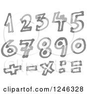Clipart Of A Gray Marker Drawn Numbers And Math Symbols Royalty Free Vector Illustration