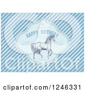 Clipart Of A Prancing Horse In A Happy Birthday Frame With Sample Text Over Diagonal Blue Stripes Royalty Free Vector Illustration by BestVector