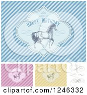 Clipart Of Prancing Horses In Happy Birthday Frames With Sample Text Over Stripes Royalty Free Vector Illustration by BestVector
