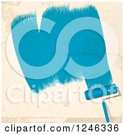 Clipart Of A Roller Brush Painting Strokes Of Blue On A Beige Wall Royalty Free Vector Illustration by elaineitalia