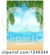 Clipart Of A Tropical Beach Framed With Palm Tree Branches Royalty Free Vector Illustration