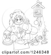 Clipart Of A Black And White Santa Taking A Phone Call While Writing At A Desk Royalty Free Vector Illustration