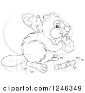 Clipart Of A Black And White Beaver Carrying A Log Royalty Free Vector Illustration by Alex Bannykh