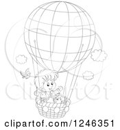 Clipart Of A Black And White Bird By A Boy And Dog Flying In A Hot Air Balloon Royalty Free Vector Illustration by Alex Bannykh