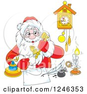 Clipart Of Santa Claus Taking A Phone Call While Writing At A Desk Royalty Free Vector Illustration