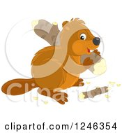 Clipart Of A Cute Beaver Carrying A Log Royalty Free Vector Illustration by Alex Bannykh