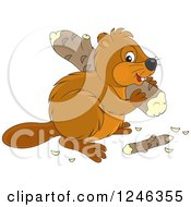 Clipart Of A Cute Beaver Carrying A Wood Log Royalty Free Vector Illustration