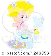 Clipart Of A Blond Caucasian Girl Brushing Her Teeth Royalty Free Vector Illustration