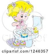 Blond Girl Brushing Her Teeth