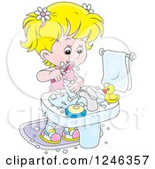 Clipart Of A Blond Girl Brushing Her Teeth Royalty Free Vector Illustration