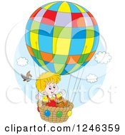 Clipart Of A Bird By A Boy And Dog Flying In A Colorful Hot Air Balloon Royalty Free Vector Illustration