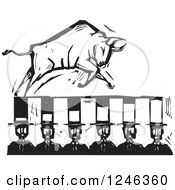 Clipart Of A Woodcut Black And White Charging Bull On Banker Top Hats Royalty Free Vector Illustration by xunantunich
