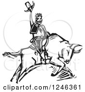 Woodcut Black And White Rodeo Cowboy On A Bull
