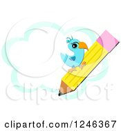 Clipart Of A Blue Bird On A Pencil Over A Cloud Royalty Free Vector Illustration by bpearth