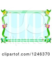 Flower Frame Over Blue Stripes