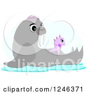 Clipart Of A Cute Seal And Fish Royalty Free Vector Illustration