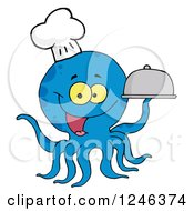 Clipart Of A Happy Blue Chef Octopus Holding A Cloche Platter Royalty Free Vector Illustration by Hit Toon