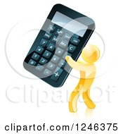 Clipart Of A 3d Gold Man Holding A Giant Calculator Royalty Free Vector Illustration by AtStockIllustration