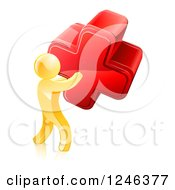 Clipart Of A 3d Gold Man Carrying A Giant Red Cross X Royalty Free Vector Illustration
