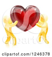 Clipart Of 3d Gold People Holding Up A Shiny Red Heart Royalty Free Vector Illustration by AtStockIllustration
