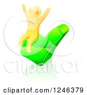 Clipart Of A 3d Gold Man Cheering On A Check Mark Royalty Free Vector Illustration