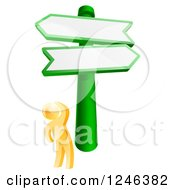 Clipart Of A 3d Gold Man Looking Up At Crossroads Signs Royalty Free Vector Illustration