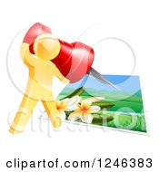 Clipart Of A 3d Gold Man Pinning A Photograph Royalty Free Vector Illustration