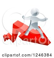 Clipart Of A 3d Successful Silver Man Riding On A Red Arrow Royalty Free Vector Illustration
