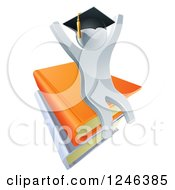 Clipart Of A 3d Silver Person Graduate Cheering And Sitting On A Stack Of Books Royalty Free Vector Illustration