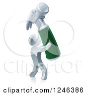 3d Silver Man Carrying A Giant Hammer
