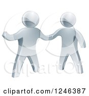 Clipart Of 3d Silver Men Shaking Hands And One Presenting Royalty Free Vector Illustration by AtStockIllustration