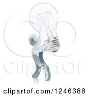 Clipart Of A 3d Silver Man Inventor Holding Up A Light Bulb Royalty Free Vector Illustration by AtStockIllustration