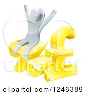 Clipart Of A 3d Silver Man Cheering And Sitting On Percent And Pound Sterling Symbols Royalty Free Vector Illustration by AtStockIllustration