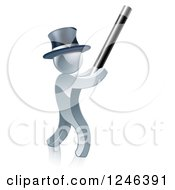 3d Silver Man Magician Using A Baton