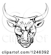 Clipart Of A Black And White Snarling Aggressive Bull Mascot Head Royalty Free Vector Illustration