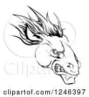 Clipart Of A Black And White Aggressive Horse Mascot Head Royalty Free Vector Illustration