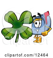 Blue Postal Mailbox Cartoon Character With A Green Four Leaf Clover On St Paddys Or St Patricks Day
