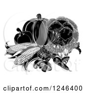 Clipart Of Black And White Vegetables Royalty Free Vector Illustration by AtStockIllustration