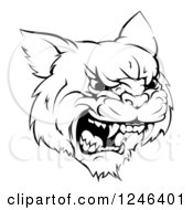 Clipart Of A Black And White Roaring Aggressive Bobcat Mascot Head Royalty Free Vector Illustration by AtStockIllustration