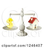 Clipart Of A 3d Scale Comparing A Dollar Currency Symbol And A House Royalty Free Vector Illustration