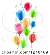 Clipart Of 3d Colorful Party Balloons And Confetti Ribbons Royalty Free Vector Illustration by AtStockIllustration