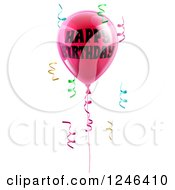 Clipart Of A 3d Pink Party Balloons And Confetti Ribbons With Happy Birthday Text Royalty Free Vector Illustration
