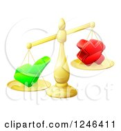 Clipart Of 3d Gold Scales Weighing A Decision Check Mark And X Cross Royalty Free Vector Illustration
