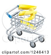 Clipart Of A 3d Gold Rupee In A Shopping Cart Royalty Free Vector Illustration