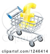 Clipart Of A 3d Gold Lira Pound Symbol In A Shopping Cart Royalty Free Vector Illustration by AtStockIllustration